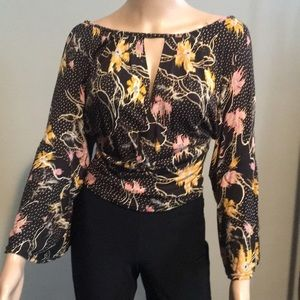 Free people soft and stretchy top with bell sleeve